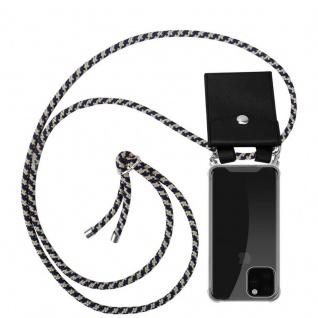 Cadorabo Handy Kette für Apple iPhone 11 PRO (XI PRO) in DUNKELBLAU GELB - Silikon Necklace Umhänge Hülle mit Silber Ringen, Kordel Band Schnur und abnehmbarem Etui - Schutzhülle