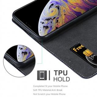 Cadorabo Hülle für Apple iPhone XS MAX in DUNKEL BLAU BRAUN ? Handyhülle mit Magnetverschluss, Standfunktion und Kartenfach ? Case Cover Schutzhülle Etui Tasche Book Klapp Style
