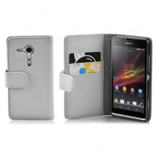 Cadorabo Hülle für Sony Xperia SP in MAGNESIUM WEIß - Handyhülle aus strukturiertem Kunstleder mit Standfunktion und Kartenfach - Case Cover Schutzhülle Etui Tasche Book Klapp Style