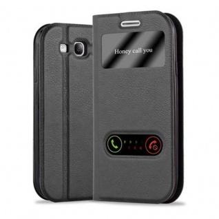 Cadorabo Hülle für Samsung Galaxy S3 / S3 NEO in KOMETEN SCHWARZ - Handyhülle mit Magnetverschluss, Standfunktion und 2 Sichtfenstern - Case Cover Schutzhülle Etui Tasche Book Klapp Style