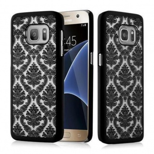 Samsung Galaxy S7 Hardcase Hülle in SCHWARZ von Cadorabo - Blumen Paisley Henna Design Schutzhülle ? Handyhülle Bumper Back Case Cover