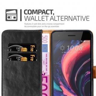 Cadorabo Hülle für HTC Desire 10 PRO in GRAPHIT SCHWARZ - Handyhülle mit Magnetverschluss, Standfunktion und Kartenfach - Case Cover Schutzhülle Etui Tasche Book Klapp Style - Vorschau 5