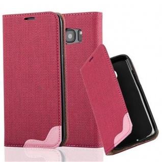 Cadorabo Hülle für Samsung Galaxy S7 EDGE - Hülle in PINKY ROT ? Handyhülle in Bast-Optik mit Kartenfach und Standfunktion - Case Cover Schutzhülle Etui Tasche Book Klapp Style