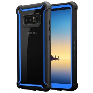 Cadorabo Hülle für Samsung Galaxy NOTE 8 in BLAU SCHWARZ - 2-in-1 Handyhülle mit TPU Silikon-Rand und Acryl-Glas-Rücken - Schutzhülle Hybrid Hardcase Back Case