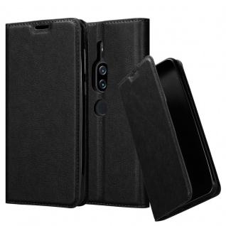 Cadorabo Hülle für Sony Xperia XZ2 PREMIUM in NACHT SCHWARZ - Handyhülle mit Magnetverschluss, Standfunktion und Kartenfach - Case Cover Schutzhülle Etui Tasche Book Klapp Style