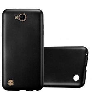 Cadorabo Hülle für LG X Power 2 in METALLIC SCHWARZ - Handyhülle aus flexiblem TPU Silikon - Silikonhülle Schutzhülle Ultra Slim Soft Back Cover Case Bumper