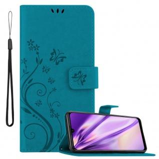 Cadorabo Hülle für Honor 10 LITE/P Smart 2019 in FLORAL BLAU Handyhülle im Blumen Design mit Magnetverschluss, Standfunktion und 3 Kartenfächern Case Cover Schutzhülle Etui Tasche Book Klapp Style