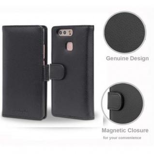Cadorabo Hülle für Huawei P9 in OXID SCHWARZ ? Handyhülle mit Magnetverschluss und 3 Kartenfächern ? Case Cover Schutzhülle Etui Tasche Book Klapp Style - Vorschau 4