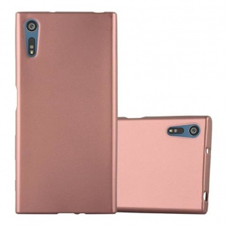 Cadorabo Hülle für Sony Xperia XZ / XZs in METALLIC ROSE GOLD Handyhülle aus flexiblem TPU Silikon Silikonhülle Schutzhülle Ultra Slim Soft Back Cover Case Bumper