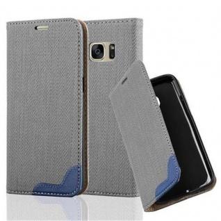 Cadorabo Hülle für Samsung Galaxy S7 - Hülle in GRAU BLAU ? Handyhülle in Bast-Optik mit Kartenfach und Standfunktion - Case Cover Schutzhülle Etui Tasche Book Klapp Style