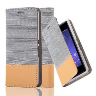 Cadorabo Hülle für Sony Xperia E3 in HELL GRAU BRAUN - Handyhülle mit Magnetverschluss, Standfunktion und Kartenfach - Case Cover Schutzhülle Etui Tasche Book Klapp Style