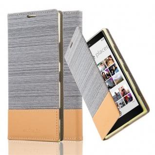 Cadorabo Hülle für Nokia Lumia 1520 in HELL GRAU BRAUN - Handyhülle mit Magnetverschluss, Standfunktion und Kartenfach - Case Cover Schutzhülle Etui Tasche Book Klapp Style