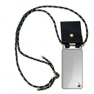 Cadorabo Handy Kette für Sony Xperia X in CAMOUFLAGE - Silikon Necklace Umhänge Hülle mit Gold Ringen, Kordel Band Schnur und abnehmbarem Etui ? Schutzhülle