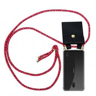 Cadorabo Handy Kette für Nokia 1 PLUS in PINK SCHWARZ WEISS GEPUNKTET Silikon Necklace Umhänge Hülle mit Gold Ringen, Kordel Band Schnur und abnehmbarem Etui Schutzhülle