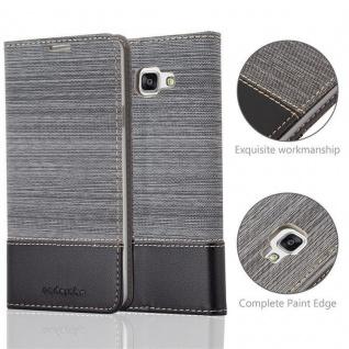 Cadorabo Hülle für Samsung Galaxy A7 2016 in GRAU SCHWARZ - Handyhülle mit Magnetverschluss, Standfunktion und Kartenfach - Case Cover Schutzhülle Etui Tasche Book Klapp Style - Vorschau 2