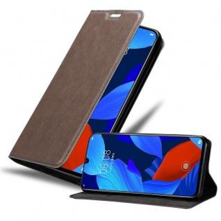 Cadorabo Hülle für Huawei NOVA 5 / 5 PRO in KAFFEE BRAUN - Handyhülle mit Magnetverschluss, Standfunktion und Kartenfach - Case Cover Schutzhülle Etui Tasche Book Klapp Style