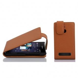 Cadorabo Hülle für Sony Xperia E1 in COGNAC BRAUN - Handyhülle im Flip Design aus strukturiertem Kunstleder - Case Cover Schutzhülle Etui Tasche Book Klapp Style