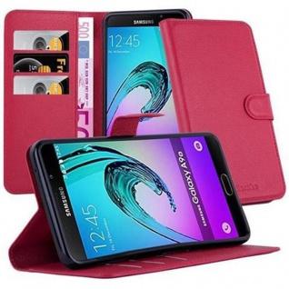 Cadorabo Hülle für Samsung Galaxy A9 2016 in KARMIN ROT - Handyhülle mit Magnetverschluss, Standfunktion und Kartenfach - Case Cover Schutzhülle Etui Tasche Book Klapp Style