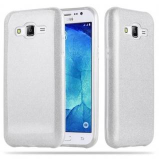 Cadorabo Hülle für Samsung Galaxy J5 2015 - Hülle in STERNENSTAUB SILBER ? TPU Silikon und Hardcase Handyhülle im Glitzer Design - Hard Case TPU Silikon Schutzhülle - Vorschau 1