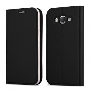 Cadorabo Hülle für Samsung Galaxy GRAND PRIME in CLASSY SCHWARZ - Handyhülle mit Magnetverschluss, Standfunktion und Kartenfach - Case Cover Schutzhülle Etui Tasche Book Klapp Style