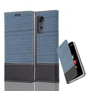 Cadorabo Hülle für LG STYLUS 2 in DUNKEL BLAU SCHWARZ - Handyhülle mit Magnetverschluss, Standfunktion und Kartenfach - Case Cover Schutzhülle Etui Tasche Book Klapp Style