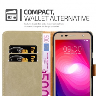 Cadorabo Hülle für LG X Power 2 in CAPPUCCINO BRAUN - Handyhülle mit Magnetverschluss, Standfunktion und Kartenfach - Case Cover Schutzhülle Etui Tasche Book Klapp Style - Vorschau 5