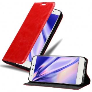 Cadorabo Hülle für BQ Aquaris X in APFEL ROT Handyhülle mit Magnetverschluss, Standfunktion und Kartenfach Case Cover Schutzhülle Etui Tasche Book Klapp Style