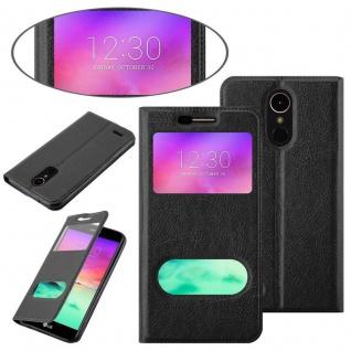 Cadorabo Hülle für LG K10 2017 in KOMETEN SCHWARZ - Handyhülle mit Magnetverschluss, Standfunktion und 2 Sichtfenstern - Case Cover Schutzhülle Etui Tasche Book Klapp Style - Vorschau 3