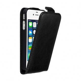 Cadorabo Hülle für Apple iPhone 4 / iPhone 4S in NACHT SCHWARZ - Handyhülle im Flip Design mit unsichtbarem Magnetverschluss - Case Cover Schutzhülle Etui Tasche Book Klapp Style