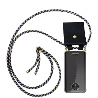 Cadorabo Handy Kette für Motorola MOTO C PLUS in DUNKELBLAU GELB - Silikon Necklace Umhänge Hülle mit Gold Ringen, Kordel Band Schnur und abnehmbarem Etui ? Schutzhülle