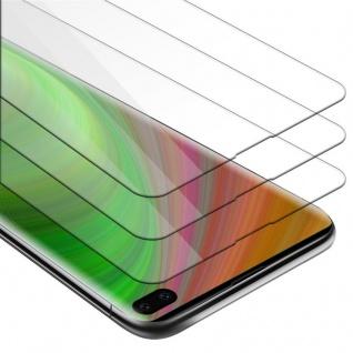 Cadorabo 3x Panzer Folie für Samsung Galaxy S10 PLUS - Schutzfolie in KRISTALL KLAR - 3er Pack Gehärtetes (Tempered) Display-Schutzglas in 9H Härte mit 3D Touch Kompatibilität
