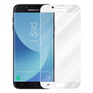 Cadorabo Vollbild Panzer Folie für Samsung Galaxy J7 2018 - Schutzfolie in TRANSPARENT mit WEISS - Gehärtetes (Tempered) Display-Schutzglas in 9H Härte mit 3D Touch Kompatibilität