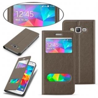 Cadorabo Hülle für Samsung Galaxy GRAND PRIME in STEIN BRAUN ? Handyhülle mit Magnetverschluss, Standfunktion und 2 Sichtfenstern ? Case Cover Schutzhülle Etui Tasche Book Klapp Style - Vorschau 3