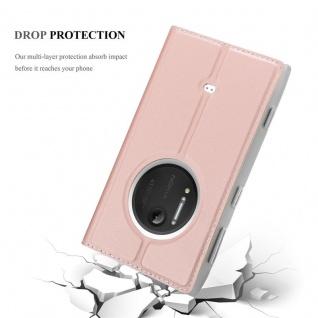Cadorabo Hülle für Nokia Lumia 1020 in CLASSY ROSÉ GOLD - Handyhülle mit Magnetverschluss, Standfunktion und Kartenfach - Case Cover Schutzhülle Etui Tasche Book Klapp Style - Vorschau 5