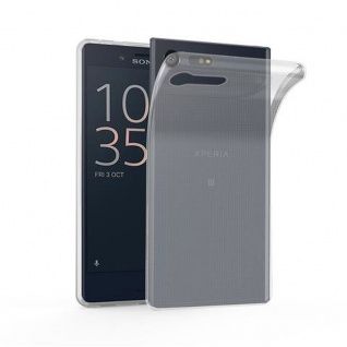 Cadorabo Hülle für Sony Xperia X Compact in VOLL TRANSPARENT - Handyhülle aus flexiblem TPU Silikon - Silikonhülle Schutzhülle Ultra Slim Soft Back Cover Case Bumper