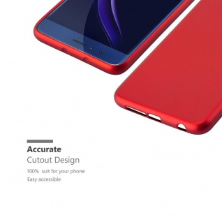 Cadorabo Hülle für Honor 8 in METALLIC ROT - Handyhülle aus flexiblem TPU Silikon - Silikonhülle Schutzhülle Ultra Slim Soft Back Cover Case Bumper - Vorschau 2