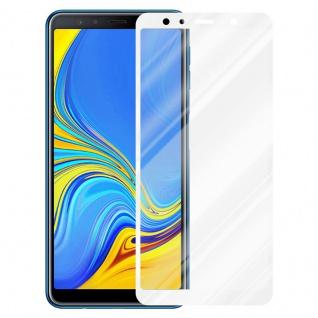 Cadorabo Vollbild Panzer Folie für Samsung Galaxy A7 2018 - Schutzfolie in TRANSPARENT mit WEISS - Gehärtetes (Tempered) Display-Schutzglas in 9H Härte mit 3D Touch Kompatibilität