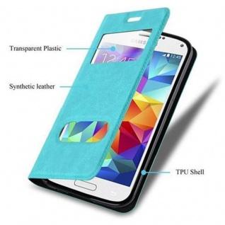 Cadorabo Hülle für Samsung Galaxy S5 MINI / S5 MINI DUOS in MINT TÜRKIS - Handyhülle mit Magnetverschluss, Standfunktion und 2 Sichtfenstern - Case Cover Schutzhülle Etui Tasche Book Klapp Style - Vorschau 3