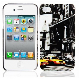 Cadorabo - Hard Cover für Apple iPhone 4 / iPhone 4S - Case Cover Schutzhülle Bumper im Design: NEW YORK CAB