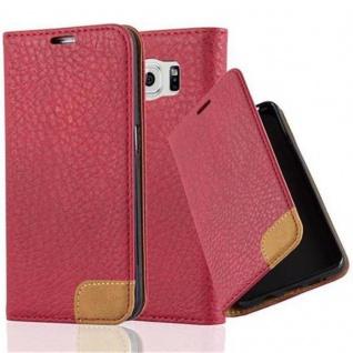 Cadorabo Hülle für Samsung Galaxy S6 - Hülle in ABEND ROT ? Handyhülle mit Standfunktion, Kartenfach und Textil-Patch - Case Cover Schutzhülle Etui Tasche Book Klapp Style