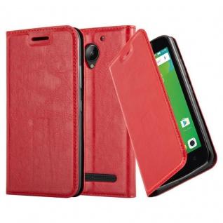 Cadorabo Hülle für Lenovo C2 in APFEL ROT Handyhülle mit Magnetverschluss, Standfunktion und Kartenfach Case Cover Schutzhülle Etui Tasche Book Klapp Style