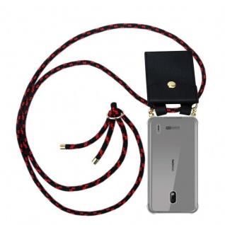 Cadorabo Handy Kette für Nokia 2.2 in SCHWARZ ROT Silikon Necklace Umhänge Hülle mit Gold Ringen, Kordel Band Schnur und abnehmbarem Etui Schutzhülle