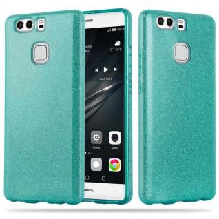 Cadorabo Hülle für Huawei P9 PLUS - Hülle in STERNENSTAUB TÜRKIS - TPU Silikon und Hardcase Handyhülle im Glitzer Design - Hard Case TPU Silikon Schutzhülle