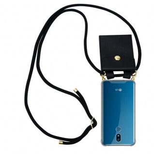 Cadorabo Handy Kette für LG K40 in SCHWARZ - Silikon Necklace Umhänge Hülle mit Gold Ringen, Kordel Band Schnur und abnehmbarem Etui ? Schutzhülle