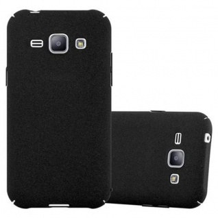 Cadorabo Hülle für Samsung Galaxy J1 2015 in FROSTY SCHWARZ Hardcase Handyhülle aus Plastik gegen Kratzer und Stöße Schutzhülle Bumper Ultra Slim Back Case Hard Cover
