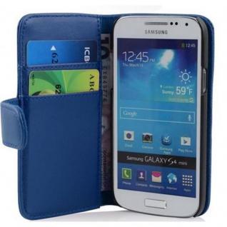 Cadorabo Hülle für Samsung Galaxy S4 MINI in BRILLANT BLAU - Handyhülle aus glattem Kunstleder mit Standfunktion und Kartenfach - Case Cover Schutzhülle Etui Tasche Book Klapp Style