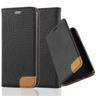 Cadorabo Hülle für Apple iPhone 7 / iPhone 7S / iPhone 8 - Hülle in SIGNAL SCHWARZ - Handyhülle mit Standfunktion, Kartenfach und Textil-Patch - Case Cover Schutzhülle Etui Tasche Book Klapp Style