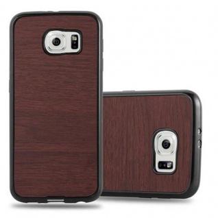Cadorabo Hülle für Samsung Galaxy S6 in WOODEN KAFFEE ? Handyhülle aus flexiblem TPU Silikon ? Silikonhülle Schutzhülle Ultra Slim Soft Back Cover Case Bumper