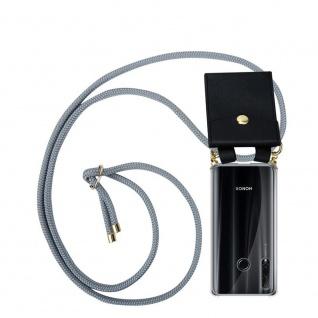 Cadorabo Handy Kette für Honor 20e in SILBER GRAU Silikon Necklace Umhänge Hülle mit Gold Ringen, Kordel Band Schnur und abnehmbarem Etui Schutzhülle