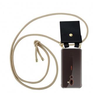Cadorabo Handy Kette für Nokia 7 PLUS in GLÄNZEND BRAUN Silikon Necklace Umhänge Hülle mit Gold Ringen, Kordel Band Schnur und abnehmbarem Etui Schutzhülle